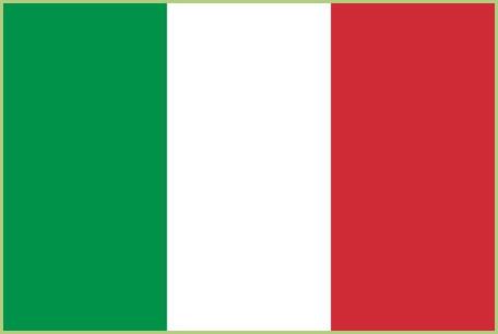 Le drapeau italien. Il reprend les couleurs des trois vertus théologales que sont l'espoir (vert), la foi (blanc) et la charité. (rouge)